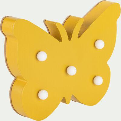 Déco lumineuse papillon en bois 5 leds non électrifié - jaune-Lusour
