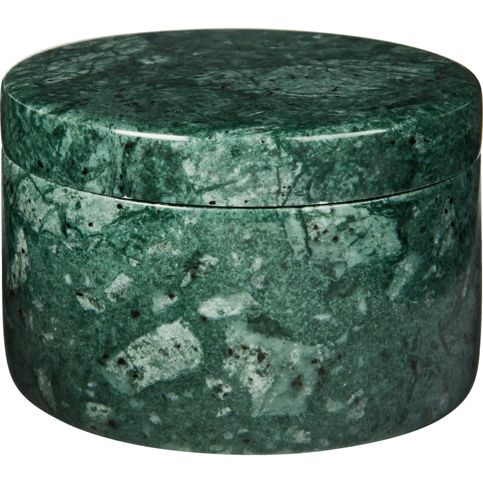 Boîte à coton en marbre vert-EULALIE