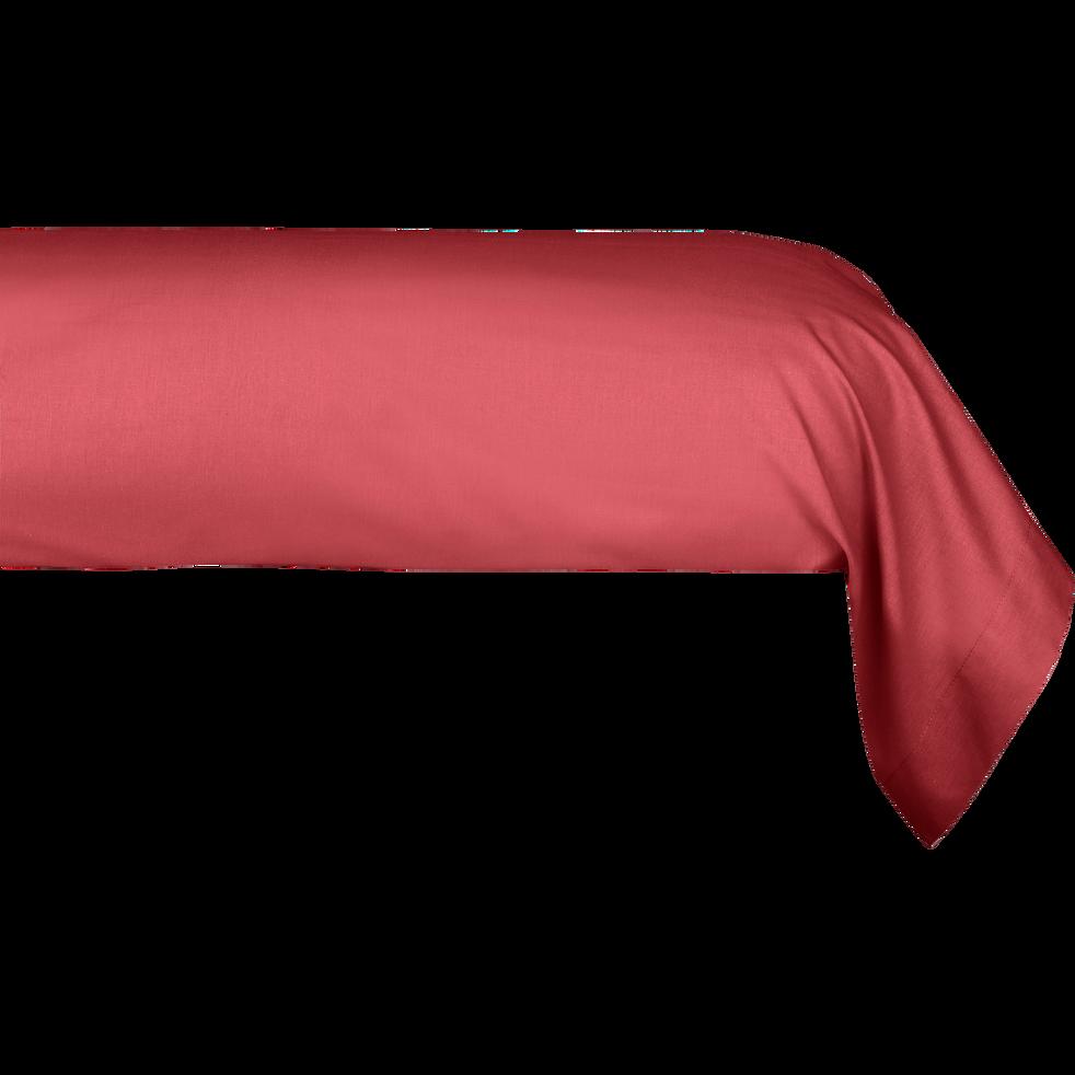 Taie de traversin en coton Rouge arbouse 43x125cm-CALANQUES