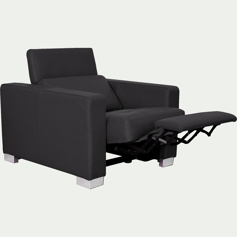 Fauteuil de relaxation en cuir - noir-MAURO