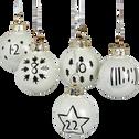 Lot de 24 mini boules de l'Avent en verre blanches D3,5cm-ELIAN