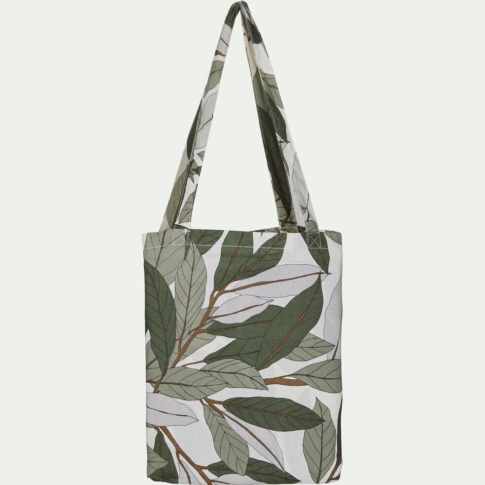 Housse de couette en coton motif Laurier - vert 260x240cm-SARA