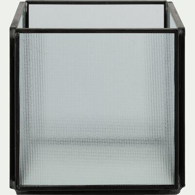 Photophore en fer et verre H10cm-CHARLES