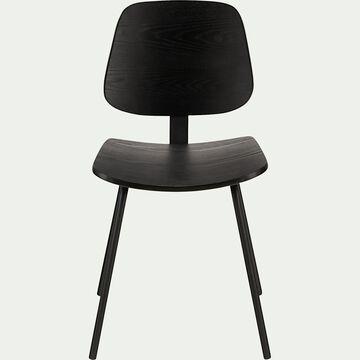 Chaise en frêne plaqué - noir-ZABBAR