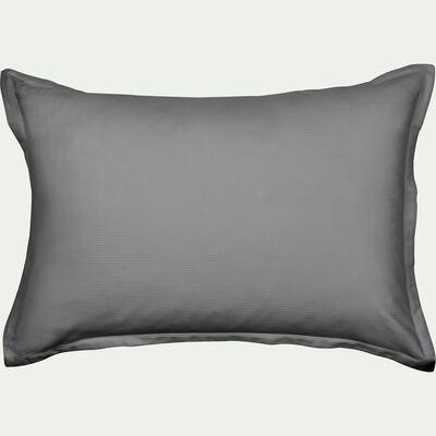 Lot de 2 taies d'oreiller rayées en satin de coton - gris restanque 50x70cm-SANTIS