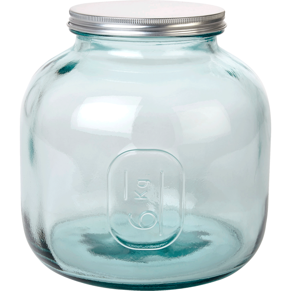 Bocal en verre recyclé avec bouchon 6Kg-STORAGE
