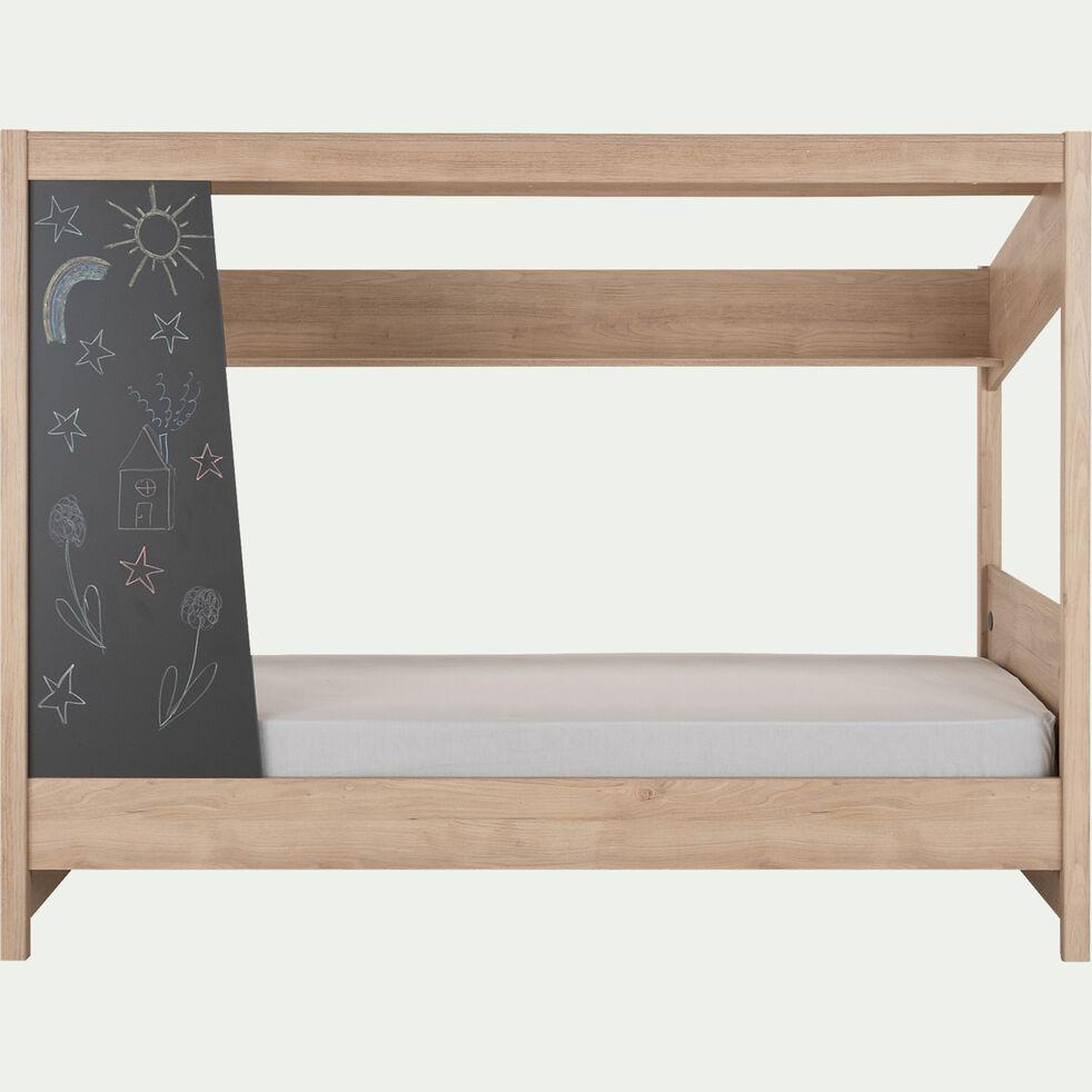 Lit cabane 1 place en bois 90x200 cm - naturel-LUCE
