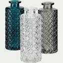 Vase fiole strié en verre - bleu niolon H13cm-Mochlos