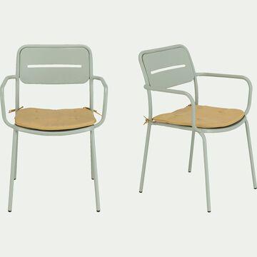 Chaise de jardin en acier avec accoudoirs - vert olivier-Inacio