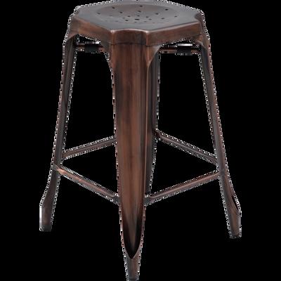 Tabouret de bar vintage en métal cuivre vieilli - H66cm-INDUS