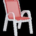 Fauteuil de jardin empilable rouge en textilène-TONIO