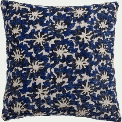 Coussin en coton motif floral - bleu 40x40cm-BORRAGEM