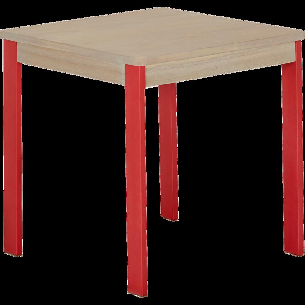 Petit bureau ou table carrée pour enfant pieds rouges-Acaya