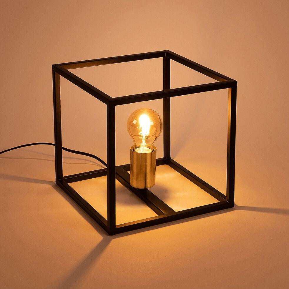 Lampe à poser cube - noir et or 22cm-ROBIN