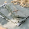 Serviette de table en lin et coton vert olivier 41x41cm-CASTILLON