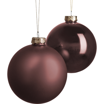 Lot de 4 boules de Noël marron D10cm-marseau