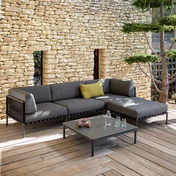 Salon de jardin en aluminium gris anthracite (4 places)-ALEX