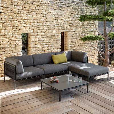 Salon de jardin en aluminium gris anthracite (4 places)-ALEX