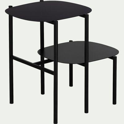 Bout de canapé double plateau en métal - noir H50cm-CAROUBE