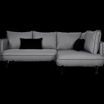 Canapé d'angle fixe droit en tissu gris borie-SAOU