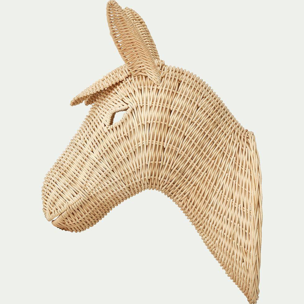 Tête de cheval murale en rotin H53cm-Chavo