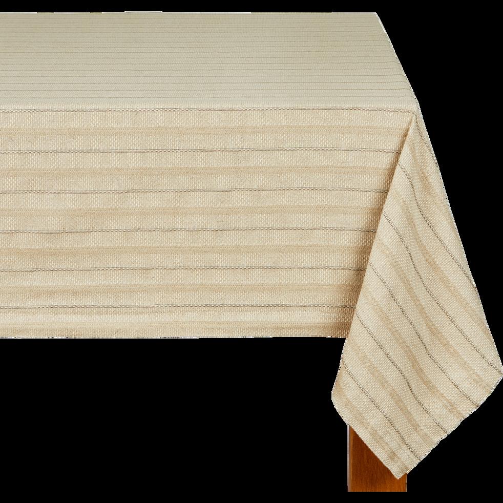 Nappe en lin et coton à motifs brun châtaignier 170x250cm-NAIS