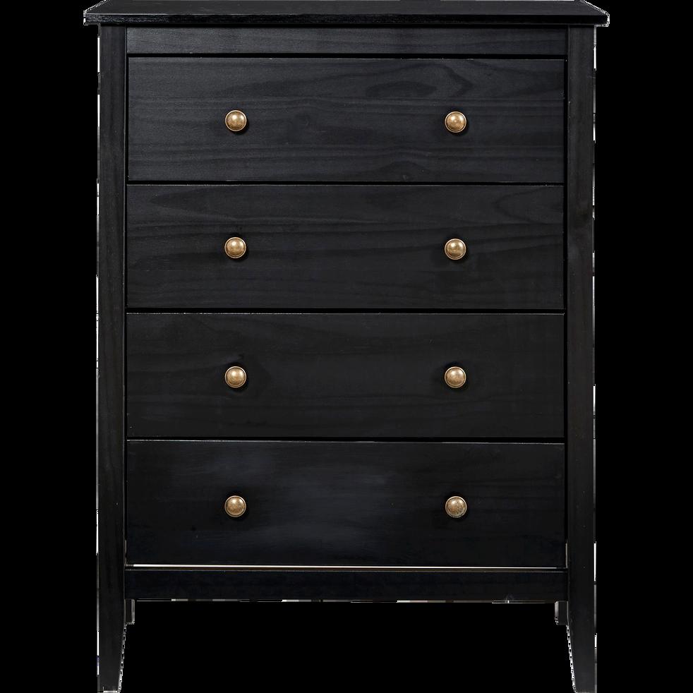 commode 4 tiroirs en pin massif noir lison commodes alinea. Black Bedroom Furniture Sets. Home Design Ideas