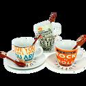 Coffret de 4 tasses, sous tasses et cuillères en porcelaine-WORD