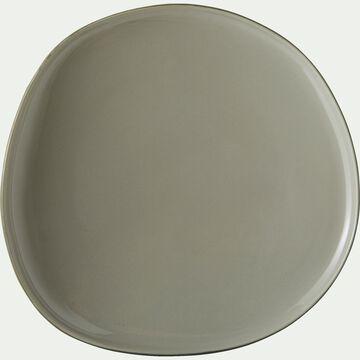 Assiette à dessert en grès vert olivier D21cm-KYMA