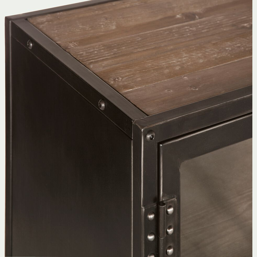 Buffet bas 3 portes en pin acier et verre-Ware