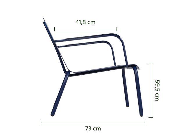 Fauteuil de jardin aluminium avec accoudoirs bleu indigo-PARADOU