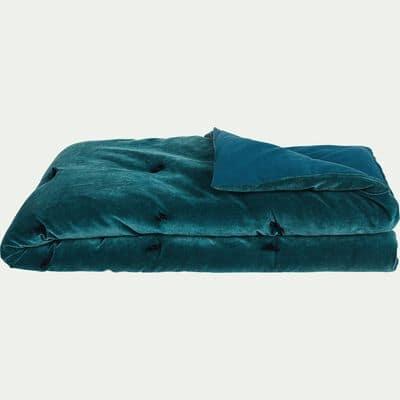 Édredon en velours bleu avec piquage pompons 100x180cm-EDEN