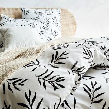 Housse de couette et 2 taies d'oreiller en coton - noir et blanc 240x220cm-ALOYSE