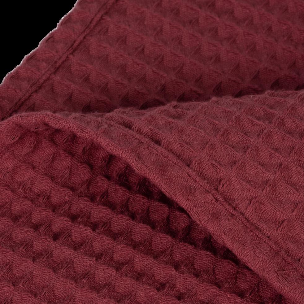 Plaid en coton gaufré rouge sumac 180x230cm-GOYA