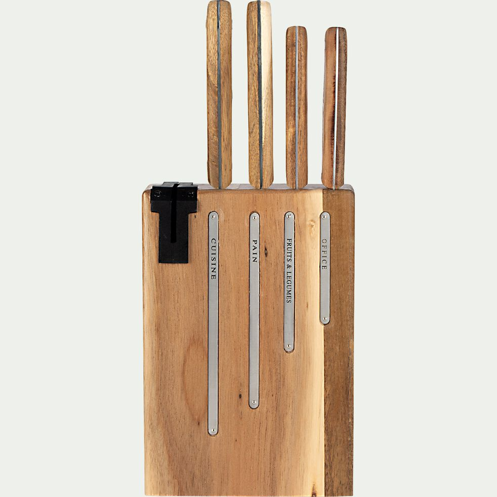 Bloc 4 couteaux de cuisine avec support en bois - L20xH35xl10 naturel-NATURAL LIFE