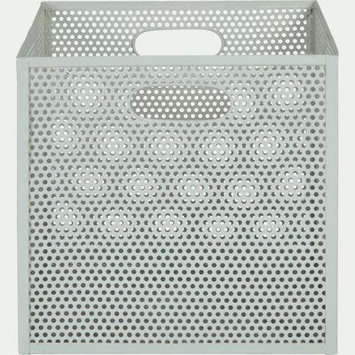 Caisse de rangement en métal vert olivier L31xl31xH30cm-PIA