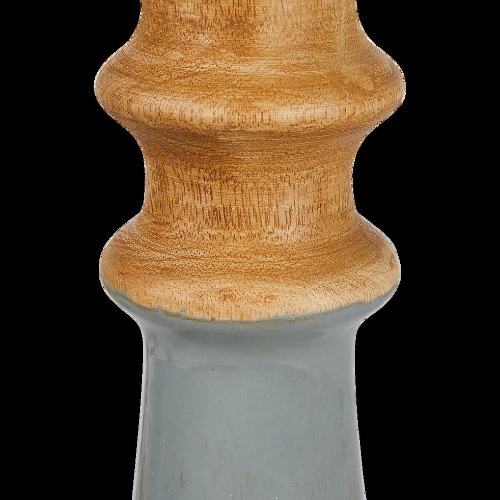 Bougeoir en bois gris H45cm-Inari