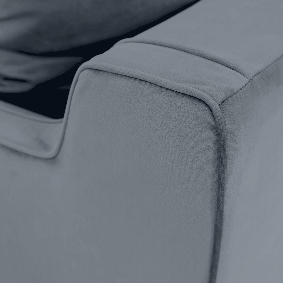 Canapé 3 places convertible en velours gris restanque-LENITA