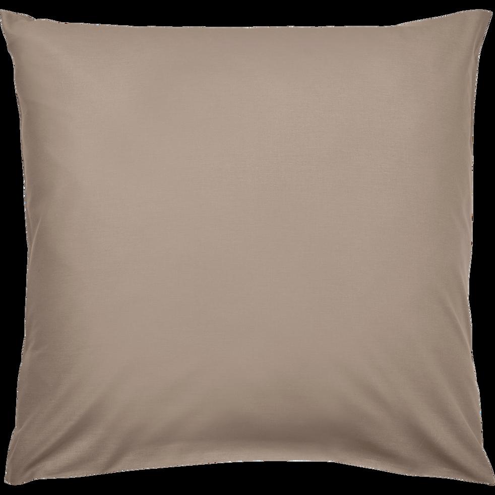 Lot de 2 taies d'oreiller en coton Brun châtaignier 65x65cm-CALANQUES