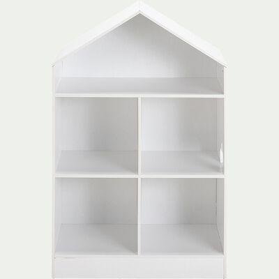 Rangement forme maison 5 cases pour chambre enfant - blanc-Dico