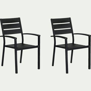 Chaise de jardin empilable avec accoudoirs en aluminium - noir-MARIA