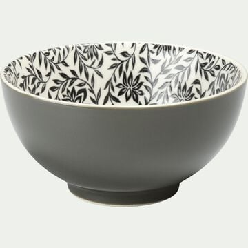 Coupelle en porcelaine vert cèdre motifs jasmin D11cm-AIX