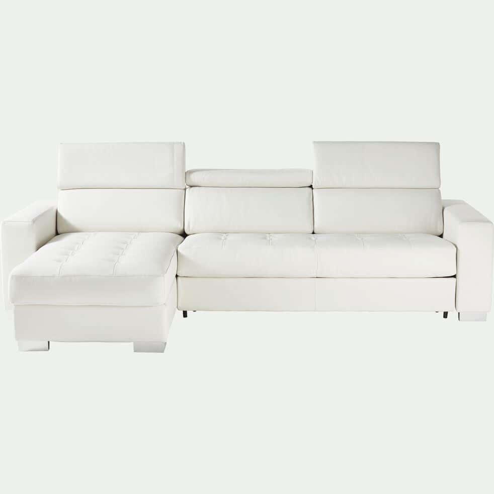 Changer La Couleur D Un Canapé En Cuir mauro - canapé d'angle réversible convertible en cuir de buffle blanc