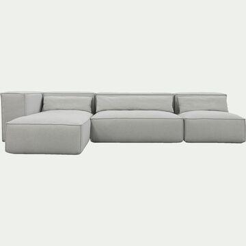 Canapé d'angle 4 places gauche en tissu - beige roucas-REVERE