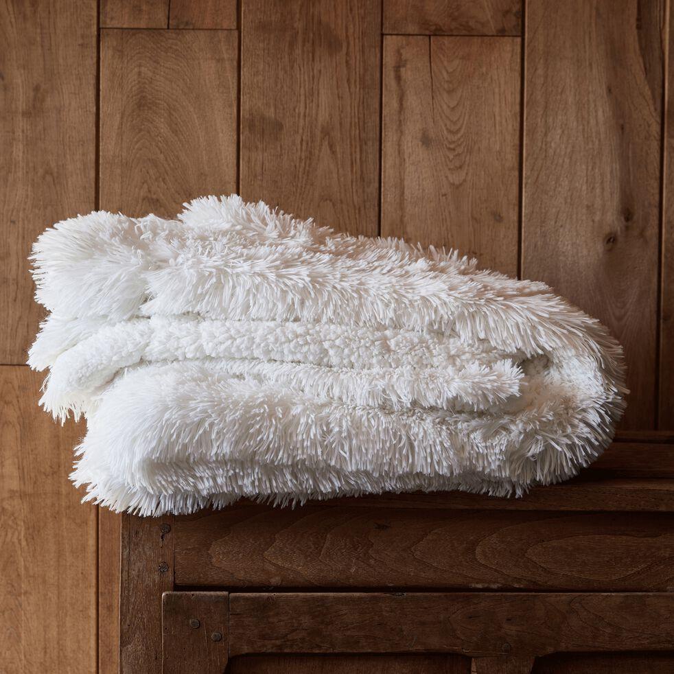 Couvre-lit imitation fourrure en polyester - blanc 220x250cm-ELEC
