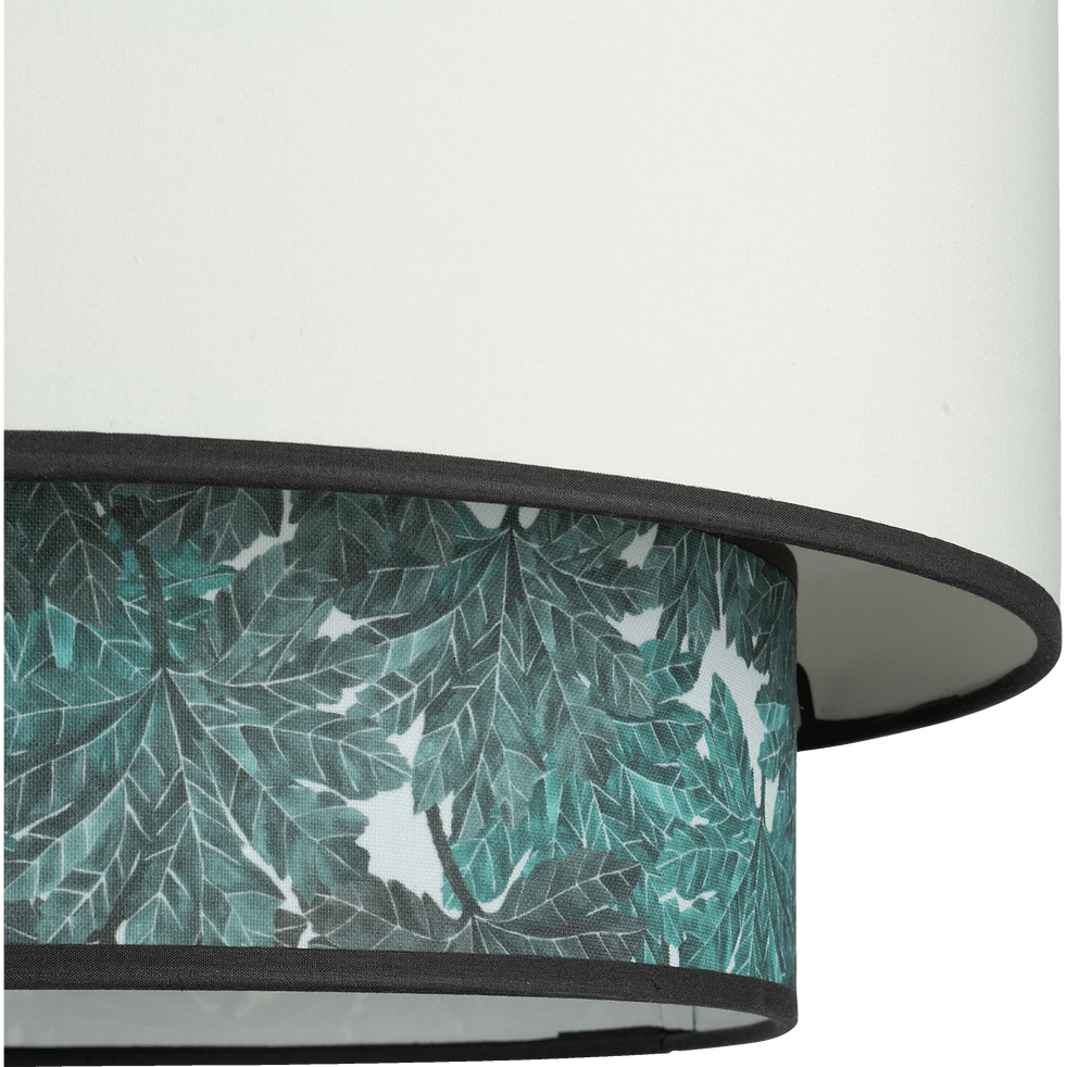 Abat-jour en tissu blanc et motif végétal D40xH25cm-CORINTHE