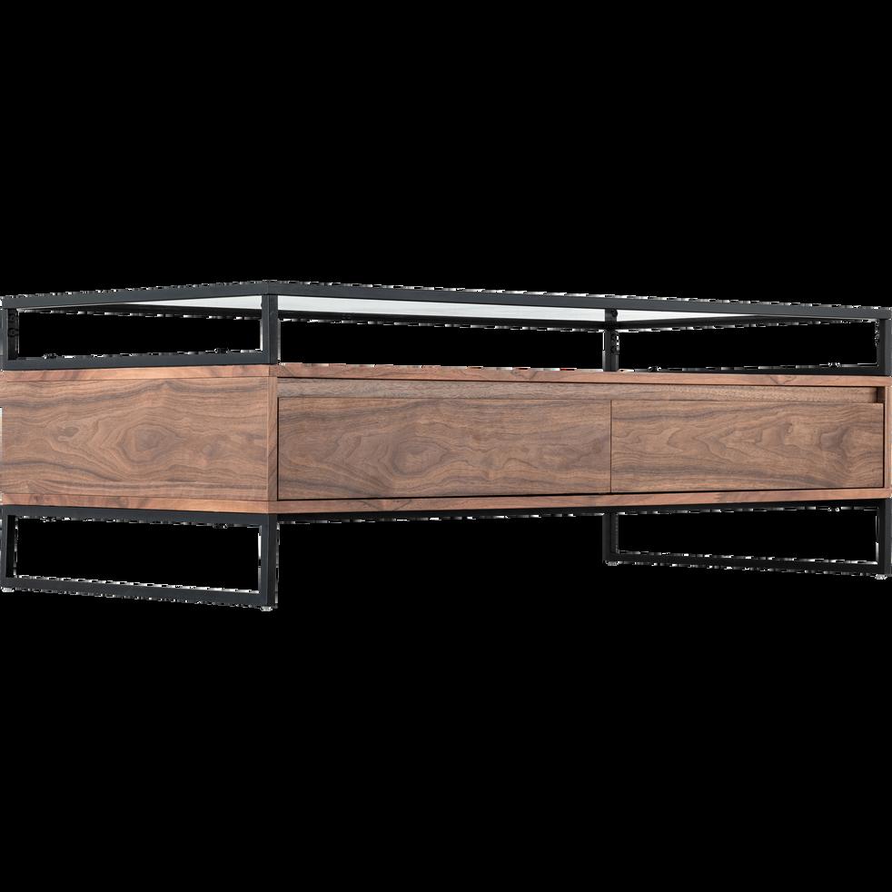 Table basse plaquée noyer avec plateau en verre-ESPERANCIO
