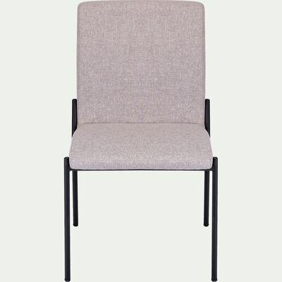 Chaise en tissu gris borie pieds noirs-JASPE