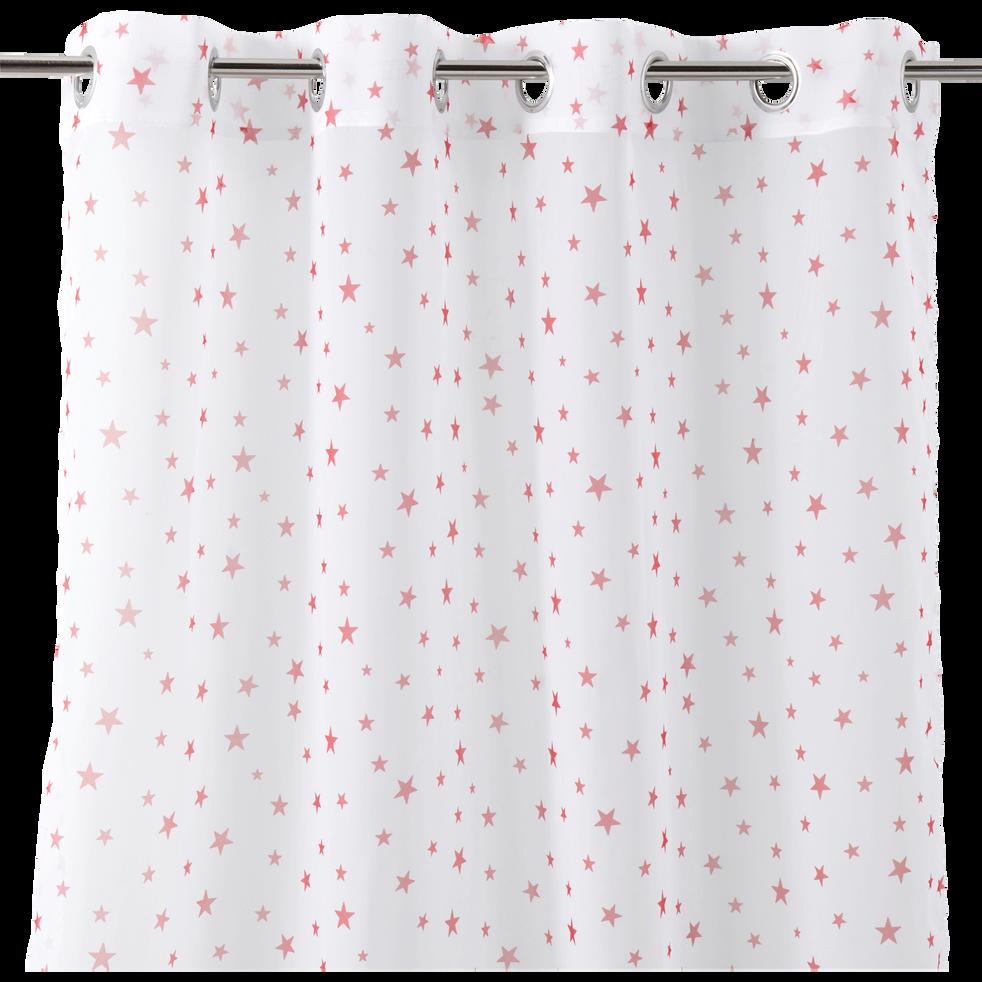 Voilage blanc motifs étoiles rouges 140x240cm pour enfant-STARRY
