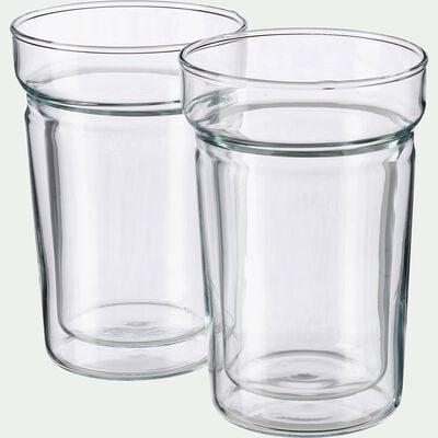 Lot de 2 tasses en verre transparent 20cl-ALCENE